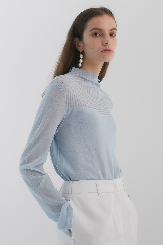 Rene Seethrough Knit_Sky Blue