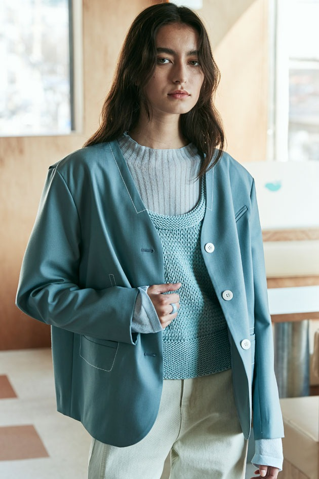 Merci No-collar Spring Jacket_Grayish Blue