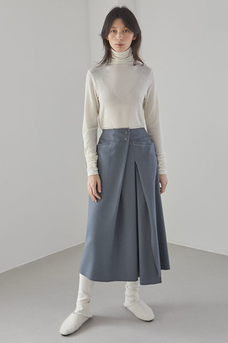 Merci Wool Skirt_Grayish Blue