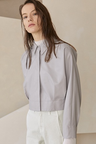 Nicky Eco-leather Cropped Shirt_Grey