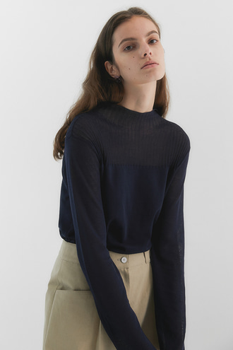 [4/30 순차발송]Rene Seethrough Knit_Navy