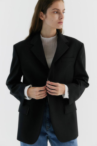Denish 3-button Wool-blend Jacket_Black