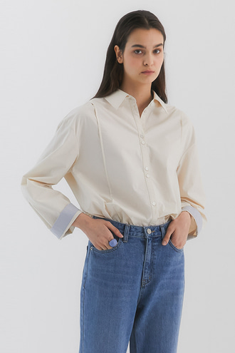 Colin Overfit Cotton Shirt_Ivory