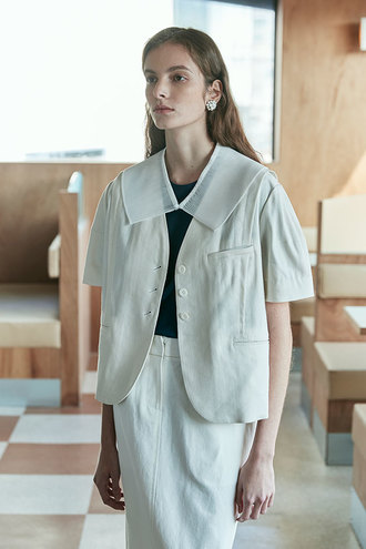 [5/6 순차발송]Carina No Collar Puff Sleeves Linen Jacket_Ivory