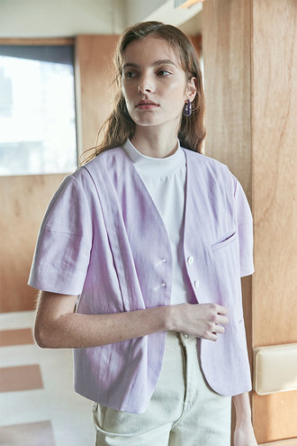 [5/13 순차발송]Carina No Collar Puff Sleeves Linen Jacket_Light Violet
